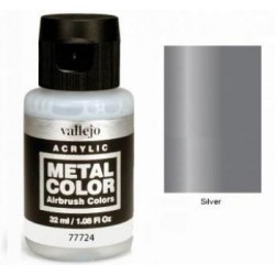 Acrilico Metal color, Plata. Bote 32 ml. Marca Vallejo. Ref: 77724.