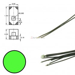 Cinco SMD,s con cable y resistencia 0402, Color Verde, Digikeijs, Ref: DR60090.