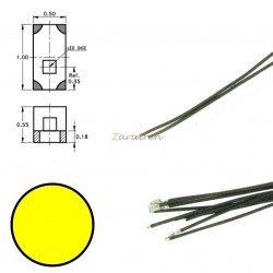 Cinco SMD,s con cable y resistencia 0402, Color Amarillo, Digikeijs, Ref: DR60091.